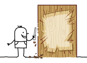 Cartoon Man Carving a Wood Blank Board