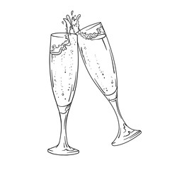 Vector glasses of champagne in lines. Black and white version. Isolated on white background.