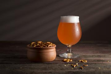 Grapefruit beer and pretzels