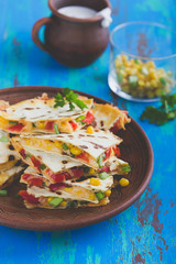 Quesadillas with corn and red bell pepper