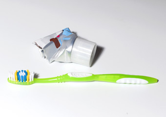 used tooth paste and tooth brush