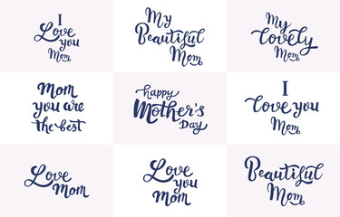 Happy mothers day Set greeting card lettering celebration logo typography