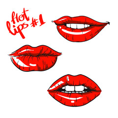 Vector image,icon set. Red lips.