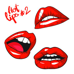 Lips set vector icon. Flat lips symbols.