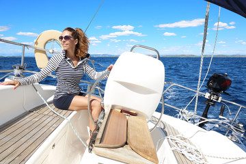 Attractive woman sailing in Croatia