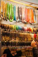 colorful jewelry on the stall