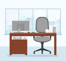 Vector illustration of modern working place in office interior with computer in flat style.