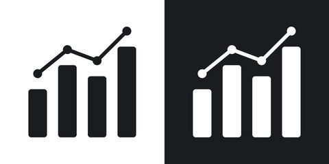 Vector business graph icon. Two-tone version on black and white background