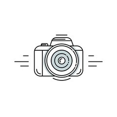 Photo camera in linear style - photography vector symbol for apps, web and print.