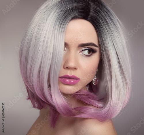 Ombre Bob Hairstyle Blonde Girl Portrait Purple Makeup Beautiful
