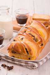 Brioche with chocolate chips.