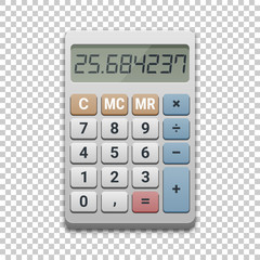 Calculator icon, vector illustration on transparent background. Business, finance, taxes or science concept