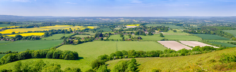 Summer rural panoramic landscape Southern England UK