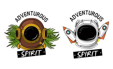 Astronaut and diving helmet designs vector illustration graphic design