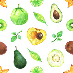 Hand painted seamless exotic pattern with watercolor carambola, avocado, lime, kiwi, canistel, guava and green leafs isolated on white background
