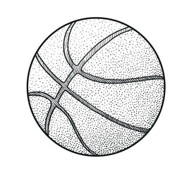 Basketball illustration, drawing, engraving, ink, line art, vector