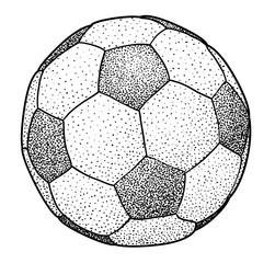 Soccer ball illustration, drawing, engraving, ink, line art, vector