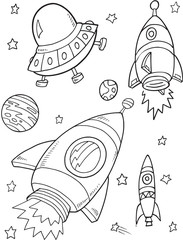 Stores à enrouleur Cartoon draw Space Rockets Vector Illustration Art