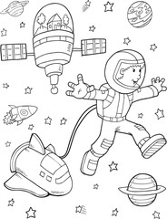 Astronaut Space Walk Vector Illustration Art