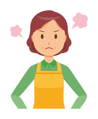A middle-aged housewife wearing an apron is angry
