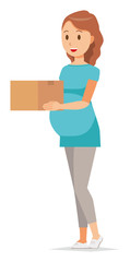 A pregnant woman wearing green clothes has a box