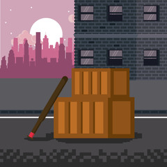 Pixelated city videogame fight scenery vector illustration graphic design