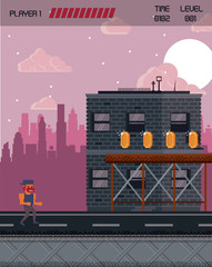 Pixelated city videogame fight scenery icon vector