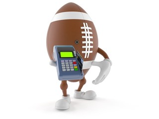 Rugby character holding credit card reader