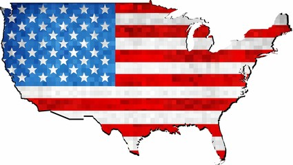 Grunge USA map with flag inside - Illustration, 