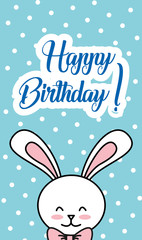 happy birthday white rabbit with dots background banner vector illustration
