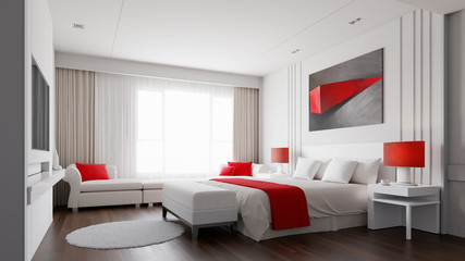 Hotel room with color concept 3d rendering