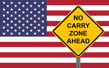 No Carry Zone Ahead - Caution Sign
