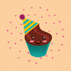 happy birthday cute kawaii chocolate cupcake in hat vector illustration