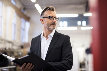 Mature businessman in factory holding folder
