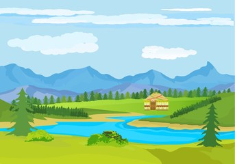 Kazakhstan countryside, farm, village, flowers, green hills and mountains, blue clouds, forest. Cartoon style, vector illustration