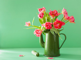 Wall Mural - beautiful pink tulip flowers bouquet in green tea pot