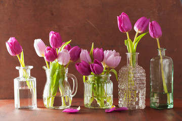 Wall Mural - beautiful purple tulip flowers bouquet in vase
