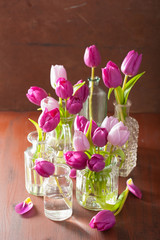 Fototapete - beautiful purple tulip flowers bouquet in vase
