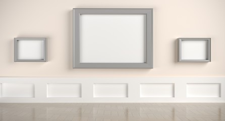3D rendering Of Realistic Modern Gallery Room With Empty Frames And Wall Decoration