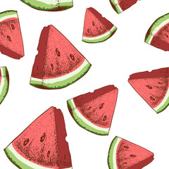 Watermelon slices seamless pattern. Hand drawn sketch style ripe summer fruits vector illustration. Ideal for party designs, fruit markets and  vegan menu.