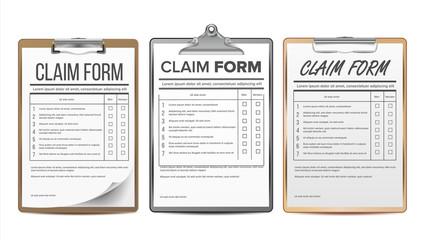 Claim Form Set Vector. Business Agreement. Legal Document. Insurance. Realistic Illustration