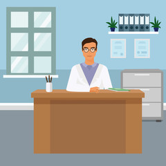 Vector illustration portrait of handsome young male doctor at his office sitting at the desk and smiling. Happy doctor in flat cartoon style.