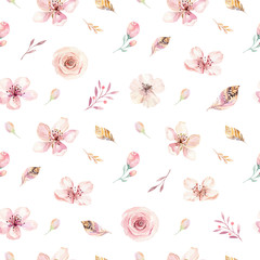 Boho seamless watercolor pattern of feathers and wild flowers, leaves, branches flowers, illustration, love and feathers, bohemian decoration spring blossom