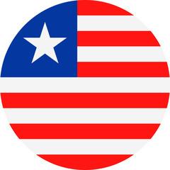 Liberia Flag Vector Round Flat Icon