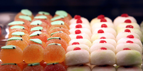 Pastries are displayed at Iginio Massari's new patisserie during the inauguration in downtown Milan