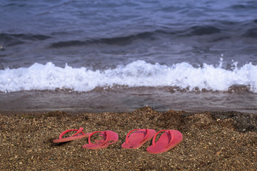 Flip flop slippers on the beach