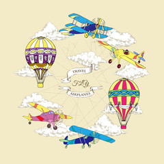 Background with Colored Airplanes an Air Balloons
