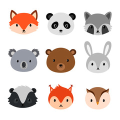 Cute animals collection. Flat style.
