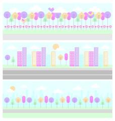 set of differents panorama scene landscape vector illustration