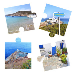 photo collage with Sifnos island photos in puzzle pieces